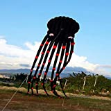 Flurries 26ft 3D Giant Black Octopus Paul Parafoil Kite - Large Big Squid with Handle Wire Loop 980ft Line - Easy Flyer - Beach Park Outdoor Games Activities Fun Toys for Kids Teenage Adults