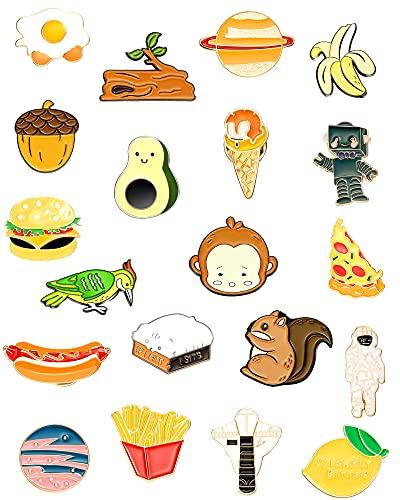 Set de 20 Broches de Solapa de Esmalte Lindo Pin Broche de Dibujos Animados Broches de Insignias para Accesorios de Ropa Bolsos Chaquetas DIY Manualidades (Estilo Planeta)