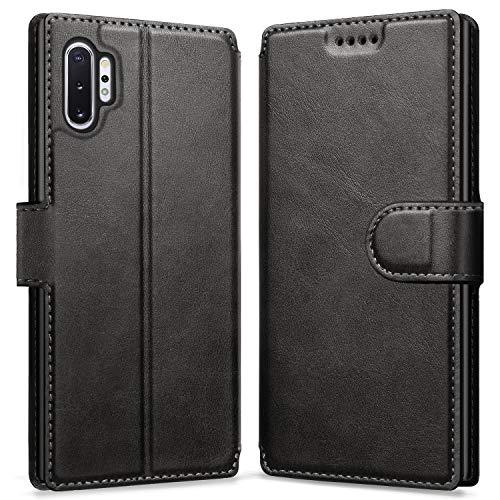 ykooe Hülle für Samsung Galaxy Note 10 Plus, Hochwertig PU Leder Tasche Handyhülle für Samsung Galaxy Note 10+ Plus Schutzhülle, Schwarz