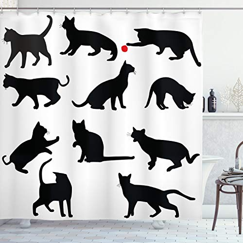 ABAKUHAUS Katze Duschvorhang, Red Ball-Tier-Haustier-Kätzchen, Bakterie Schimmel Resistent inkl. 12 Haken Waschbar Stielvoller Digitaldruck, 175 x 180 cm, Rubinschwarz