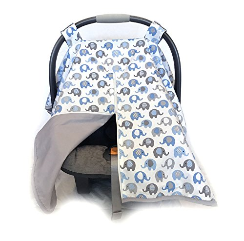 Vera Elephant 100% Breathable Cotton Baby Car Seat Cover Blue Grey