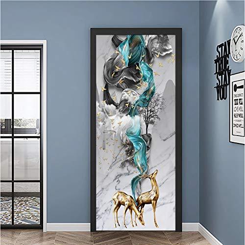 QQFENG Türtapete Wandbilder Fairy Deer Tür Wandaufkleber Kinderzimmer Veranda Wohnzimmer Schlafzimmer Abnehmbar Selbstklebend Tür Poster Mauer Aufkleber 77 X 200 cm