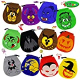 ATDAWN 72 Pack Halloween Drawstring Goody Bags, Halloween Treats Bags, Halloween Party Favors, Halloween Party Supplies