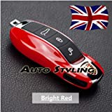 Rouge brillant Housse de clé à distance pour Porsche Coque boîtier côté Painted Trim Boxster Carrera Cayenne Cayman Macan...