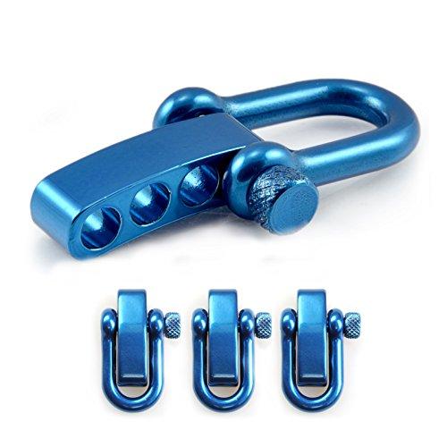 Manille droite réglable en acier avec un axe à visser simple à manier, manille en forme de U, manille ajustable, idéale avec les paracordes 550, confection de bracelets, grandeur: M, couleur: bleu, de la marque Ganzoo – lot de 3 manilles