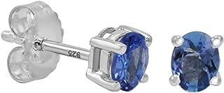 Tanzanite Stud Earrings set in Sterling Silver (Real Genuine Tanzanite)
