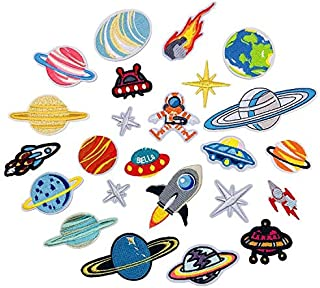24 pcs/Set Embroidery Patches Outer Space Planet Pattern Sew On Patches Iron On Patches for Clothes Badges Sticker for Jeans