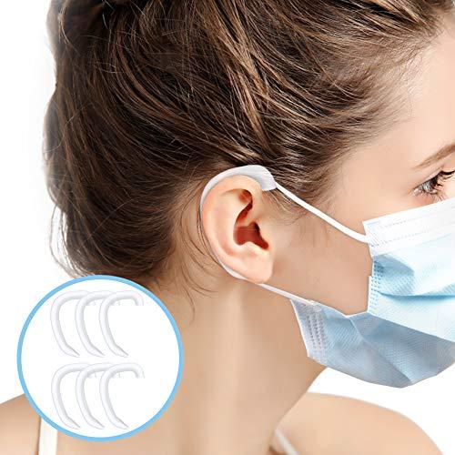 Aoua シリコンイヤーフック マスクや眼鏡で耳が痛く 再利用可能 補助道具 マスク用フックベルト クリア イヤーフックアジャスター マスクアクセサリー 大人 子供兼用 6枚装 (半透明)