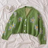 suéter de las señoras Flor de punto suéter de las rebecas de las mujeres del V cuello flojo thicked puente impresión de las mujeres ocasional de la capa corta sweater Qf shop ( Color : D , Size : 1 )