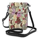 Sac à main en cuir avec motif gâteau de fraises pour téléphone portable, porte-monnaie, porte-monnaie avec bandoulière