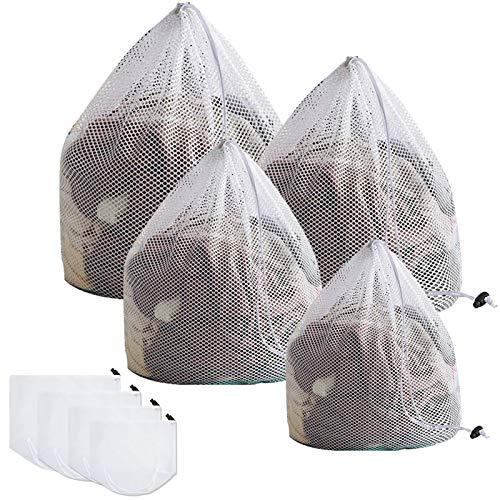 JOLIGAEA 4 Piezas Lavado Bolsa, Bolsa de lavandería de Malla, Saco para la Colada Reutilizable: 1 Extra Grande &1 Grande& 1 Mediana & 1 Pequeñas, Bolsas para Colada para Proteger Ropa Delicada, Blanca