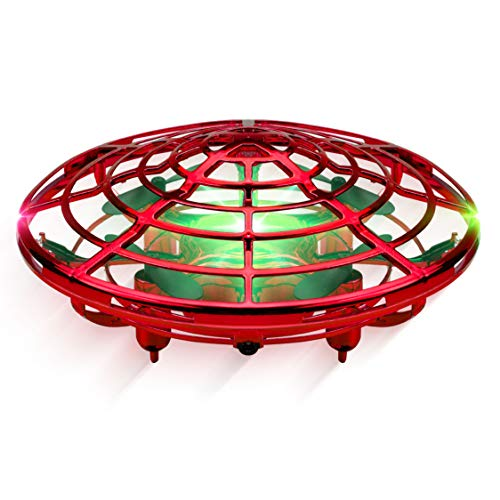 Force1 Scoot Hand Operated Drones for Kids or Adults - Hands Free Mini Drone, Easy Indoor Small UFO Flying Ball Drone Toys for Boys and Girls (Red)