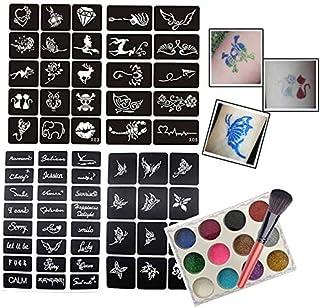 Xmasir - Plantillas de tatuaje con purpurina y pincel para pintura de rostro pequeña, para