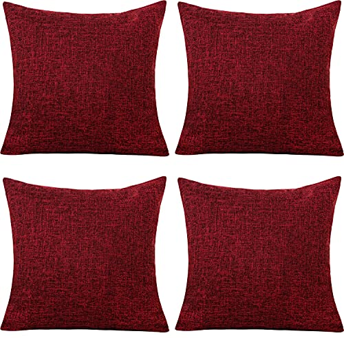 Gonove 4 Pack - 18'X18 Square Pillowcase Cotton Linen Cushion Pillow Case Decorative Throw Pillow Covers Protector for Sofa, Couch, Bed, Bench (Red)