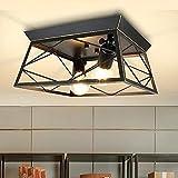 DLLT Lámpara de techo cuadrada industrial, agriturismo Semi Lámpara de techo, retro cerca de plafones ...