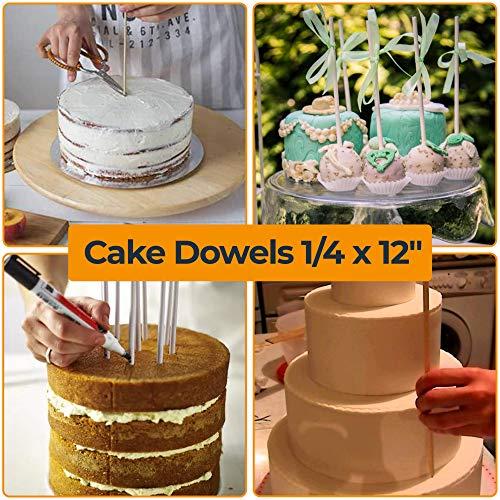 Cake Dowels Rods for Wedding Cake - Sturdy Wooden Cake Dowel Rods 1/4 x 12inch - 20 pcs Cake Dowels Wood - Wooden Dowels 1 4