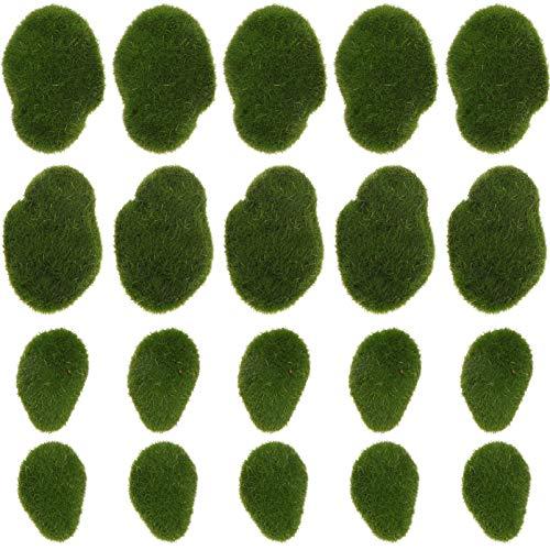 Cabilock 20 Stücke Künstliche Moossteine Mooskugel Moosbälle Terrarium Pflanzen Aquarium Steine Für Blumentopf Miniatur Ornamente Ostern Feengarten Deko Modellbau Micro Landschaft Dekoration