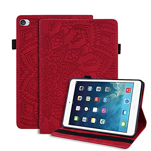 LundBtech Hülle für iPad Mini 5 2019/ iPad Mini 4 Schutzhülle Dünn PU Leder Flip Cover mit Auto Schlaf/Wach Funktion & Stifthalter, für iPad Mini 7.9 Zoll, iPad Mini 1 2 3 4 5 Tablette, Rot