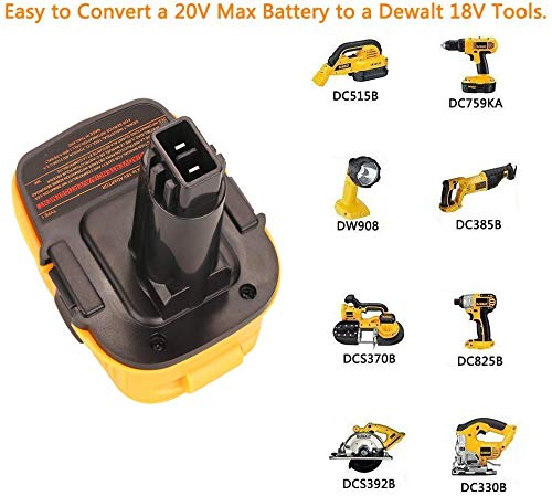 Product Image 5: DCA1820 Battery Adapter for Replace Dewalt 18V to 20V Tools Convert for Dewalt 18V NiCad & NiMh Battery Tools DC9096 DW9096 DC9098 DC9099 DW9099(USB Converter) (1 Pack)