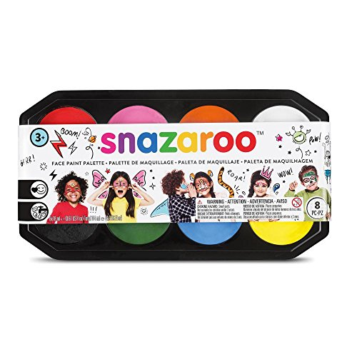 Snazaroo Face Paint Palette Kit, 8 x 18ml, 8 Colors