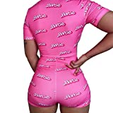 Sexy Women 's Bodysuit Long Sleeve Deep V Neck Leotard Tops Bodycon Jumpsuits Shorts Pajamas Outfit for Women (Barbie, M)
