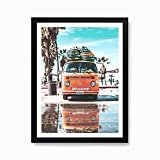 Mulrcks Cartel de metal para pared de Camper Van de verano, California Ocean Malibu Beach Surf Board Decoración de pared de la playa, 20,3 x 30,5 cm