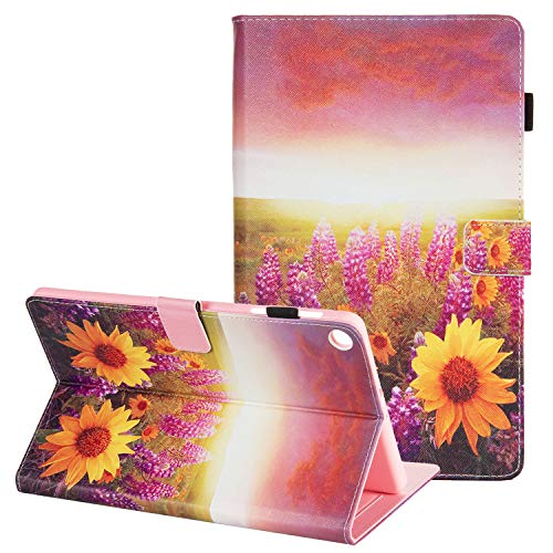 Galaxy Tab A 10.1 2019 Case for Girls, Tab A 2019 10.1 Case, APOLL PU Leather Shockproof Folio Stand Case for Samsung Galaxy Tab A 10.1 SM-T510 SM-T515 SM-T517 2019 Release Tablet, Sunflower Lavender