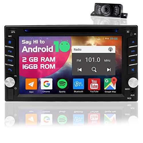 2 Din Autoradio Android 10.0 Stereo Auto Bluetooth Lettore CD/DVD Radio Auto Navigatore GPS Impianti Stereo Macchina 2din con Schermo da 6.2 Pollici e Telecamera Posteriore Supporto USB Wifi TF SWC