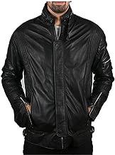 Men's Black Biker Motorcycle Daft Punk Genuine Leather Jacket