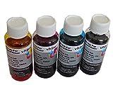 vhbw Set de Tinta de Relleno Dye Negro, Cyan, Magenta, Yellow Compatible con Canon Pixma G3510, G2510, G1510