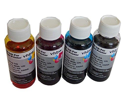 vhbw 4X Tinta de Recarga Compatible con Epson Impresora - Set de Recarga, Dye Cian, Dye Magenta, Dye Negro, Dye Yellow