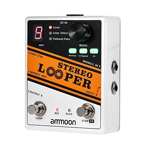 ammoon STEREO LOOPER Loop Record Gitarren effektpedal 10 Unabhängige Schleifen Max. 10min Aufnahmezeit für jede Schleife Unbegrenzt Overdubbing