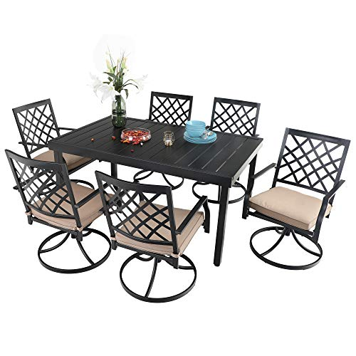 PHI VILLA 7 Piece Outdoor Furniture Dining Set, All-Weather Metal Steel Conversation Set Includes 6 Chairs and 1 Extendable Dining Table for Patio Garden Deck