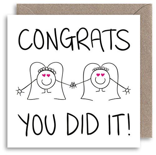 Tarjeta de boda lesbiana – Tarjeta de felicitación de boda alternativa –...