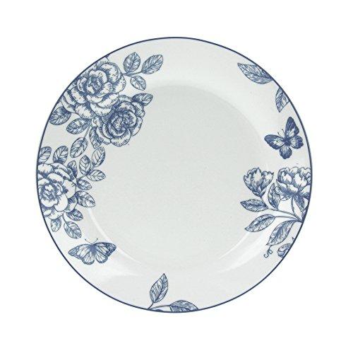 Tognana Olimpia Garden Lot de 6 Assiettes Plates, Porcelaine, Bleu, 6 unités