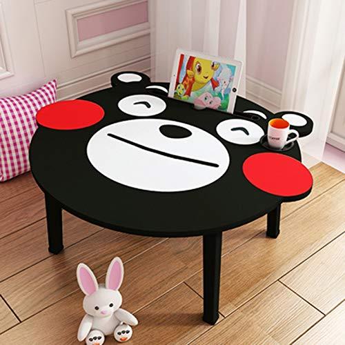 Huoqilin bed en een kleine tafel, voor het zitten van de slaapkamer, cartoon-cartoon-motief, inklapbare tafel, voor kinderkamer, kantoor of thuis. Zwart