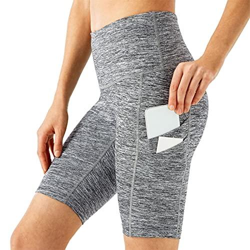 Pantalones Cortos De Yoga De Las Mujeres, Pantalones Cortos De Cintura Alta De Verano, Entrenamiento De Bolsillo Lateral Que Corre Leggings Cortos,3,XL