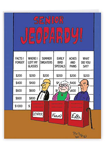 Senior Game Show - Funny Happy Birthday Greeting Card with Envelope (8.5 x 11 Inch) - Cartoon Bday Notecard for Old People, Grandparents J6291