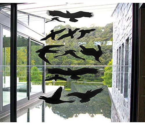Window Alert Bird Stickers Silhouettes Glass Door Protection Save Birds, Black - by FMJI