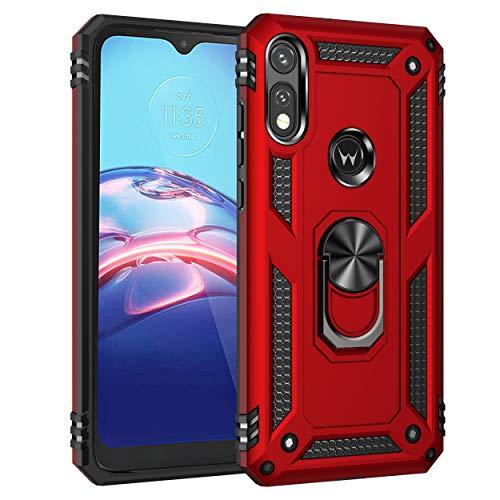 JMstore Funda Compatible con Motorola Moto E7 Anillo Soporte[Funciona con El Montaje Coche Magnético]+Protectores Pantalla(Rojo)