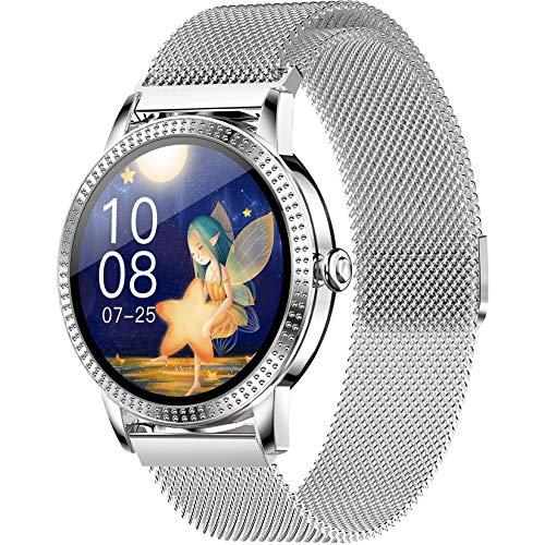 FXMJ Fitness Trackers Smartwatch con Monitor De Ritmo Cardíaco Contador De Calorías por Pasos Monitor De Sueño, IP67 Pulsera Actividad A Prueba De Agua Pantalla A Color De 1.08',Plata,Steel Belt