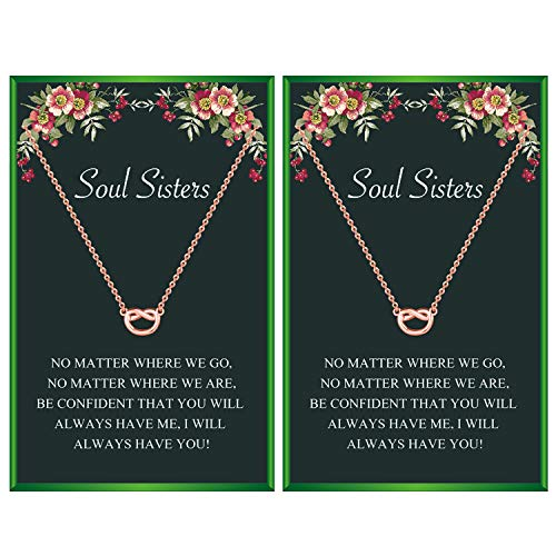 Your Always Charm Soul Sister Necklaces for 2 Best Friendship Necklace for Best Friends(Rose Gold Set)