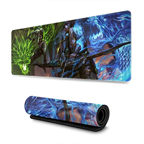 FPSMOUPD Mouse Pad Gaming Large Genji & Hanzo Extended Mouse Pad with Stitched Edges Non-Slip Rubber Base 31.5' x 11.8' x 0.12'