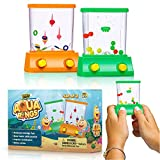 Handheld Water Game by YoYa Toys - 2 Pack Set of a Fish Ring Toss and a Basketball Aqua Arcade Toy in 2 Compact Mini Retro Pastime for Kids and Adults in a Gift Box