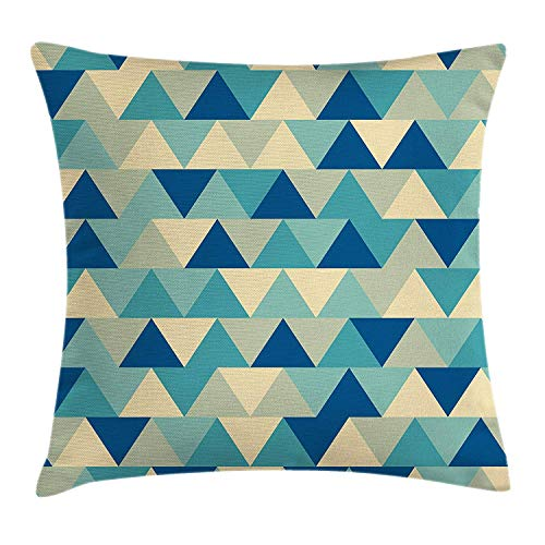 ZHIZIQIU Abstract Triangle Throw Pillow Cushion Cover, Pastel Boho Forms Funky Retro Happiness Diamond Pattern, Decorative Square Accent Pillow Case, 18 X 18 Inches, Turquoise Teal Dark Blue