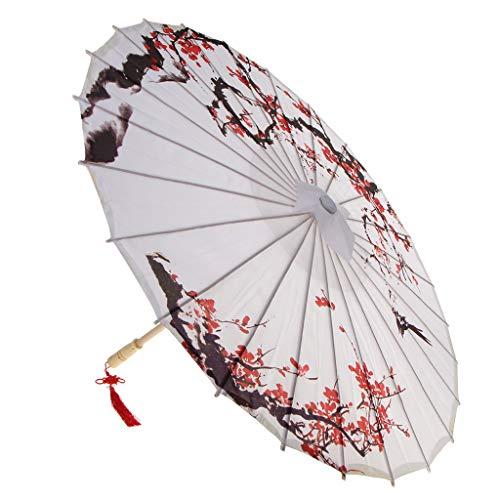 SM SunniMix Vintage Chinesische Regenschirm Sonnenschirm Tanz Schirm Deko Schirm, aus Öl Papier - 1