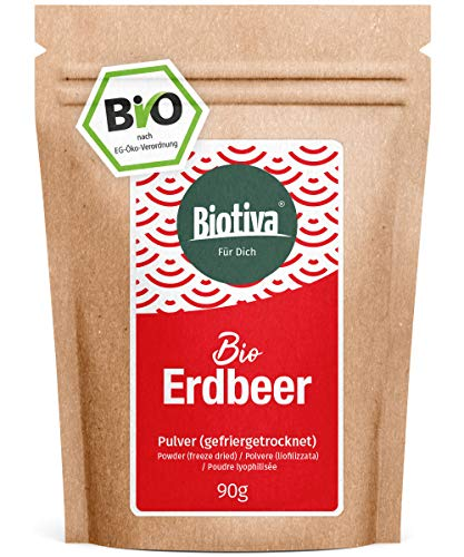 Poudre de fraise bio 90g lyophilisée - Fragaria - Poudre de fruits - Superfood - Végan, sans lactose, sans soja - Sachet refermable