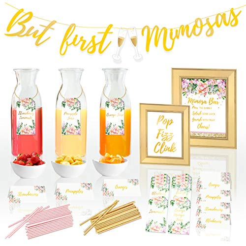 COTIER Preprinted Mimosa Bar Supplies Decorations Kit - Mimosa Bar Sign, But First Mimosas Banner - Bridal Shower Decorations, Birthday Brunch Decorations, Bubbly Bar, Engagement Party, Bachelorette…