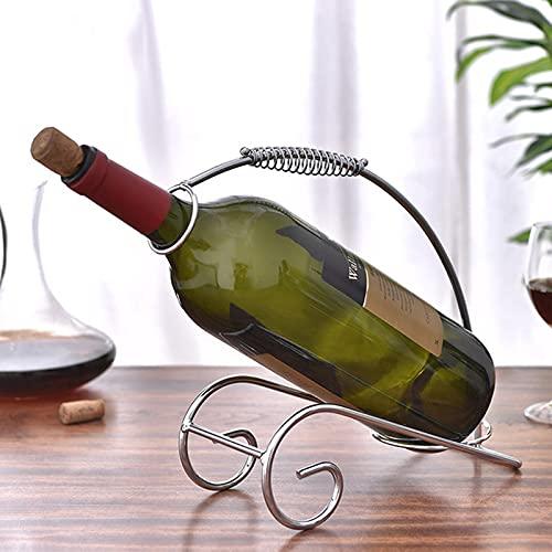 SUHETI Portabotellas de Vino con Asa, Botellero Decorativo Independiente, para la Decoración del Arte de la Mesa Cocina Casera
