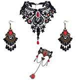 JeweBella Bijoux Gothique pour Femme Noir Collier Dentelle Boucles d'oreilles et Bracelet Ensemble pour Halloween Cosplay Gothique Vampire Lolita Costume